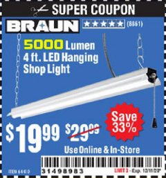 Harbor Freight Coupon 5000 LUMEN 4 FT. LED HANGING SHOP LIGHT Lot No. 64410 Expired: 12/11/20 - $19.99