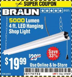 Harbor Freight Coupon 5000 LUMEN 4 FT. LED HANGING SHOP LIGHT Lot No. 64410 Expired: 12/18/20 - $19.99