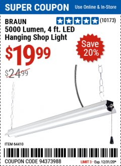 Harbor Freight Coupon 5000 LUMEN 4 FT. LED HANGING SHOP LIGHT Lot No. 64410 Expired: 12/31/20 - $19.99