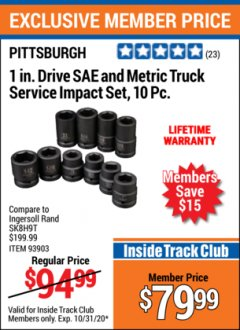 Harbor Freight ITC Coupon 1 IN. DRIVE SAE AND METRIC TRUCK SERVICE IMPACT SET, 10 PC. 93903 Lot No. 93903 Valid Thru: 10/31/20 - $79.99