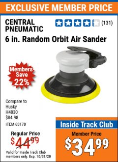 "Harbor Freight ITC Coupon 6""SANDER Lot No. 63178 Valid Thru: 10/31/20 - $34.99"