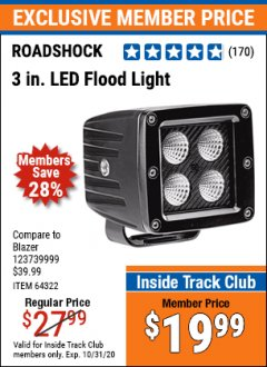 Harbor Freight ITC Coupon ROADSHOCK 3 IN. LED FLOOD LIGHT Lot No. 64322 Expired: 10/31/20 - $19.99