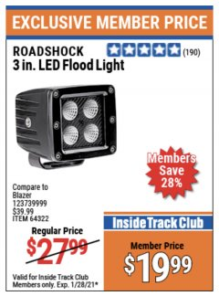 Harbor Freight ITC Coupon ROADSHOCK 3 IN. LED FLOOD LIGHT Lot No. 64322 Expired: 1/28/21 - $19.99