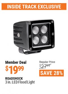 Harbor Freight ITC Coupon ROADSHOCK 3 IN. LED FLOOD LIGHT Lot No. 64322 Valid: 4/1/21 - 4/29/21 - $19.99