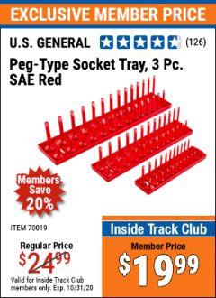 Harbor Freight ITC Coupon US GENERAL PEG TYPE SOCKET TRAY, 3PC METRIC Lot No. 70018 Valid: 10/1/20 - 10/31/20 - $19.99