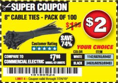 "Harbor Freight Coupon 8"" CABLE TIES PACK OF 100 Lot No. 1142/60265/69402/34635/60263/69403 Expired: 6/23/19 - $2"