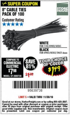 "Harbor Freight Coupon 8"" CABLE TIES PACK OF 100 Lot No. 1142/60265/69402/34635/60263/69403 Expired: 11/30/19 - $1.49"