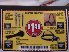 "Harbor Freight Coupon 8"" CABLE TIES PACK OF 100 Lot No. 1142/60265/69402/34635/60263/69403 Expired: 2/29/20 - $1.49"