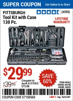 Harbor Freight Coupon PITTSBURGH TOOL KIT WITH CASE 130 PC. Lot No. 64263, 68998, 63248, 64080, 63091 Valid: 10/15/20 10/31/20 - $29.99