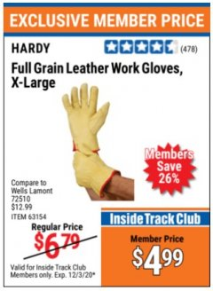 Harbor Freight ITC Coupon HARDY FULL GRAIN LEATHER WORK GLOVES, X-LARGE  Lot No. 63145 Valid Thru: 12/3/20 - $4.99