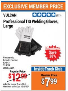 Harbor Freight ITC Coupon PROFESSIONAL TIG WELDING GLOVES, LARGE Lot No. kh643 Valid: 11/3/20 - 12/3/20 - $7.99