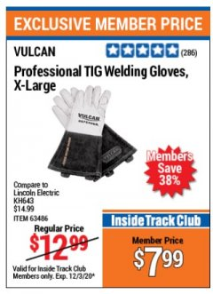 Harbor Freight ITC Coupon PROFESSIONAL TIG WELDING GLOVES, X- LARGE Lot No. kh643 Valid: 11/3/20 - 12/3/20 - $7.99