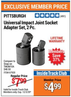 Harbor Freight ITC Coupon UNIVERSAL IMPACT JOINT SOCKET ADAPTER SET,2PC.ADAPTER  Lot No. timum10a Valid: 11/3/20 - 12/3/20 - $4.99