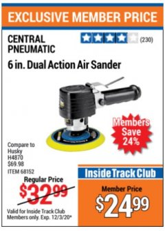 Harbor Freight ITC Coupon 6 IN. DUAL ACTION AIR SANDER Lot No. h4870 Valid: 11/3/20 - 12/3/20 - $24.99