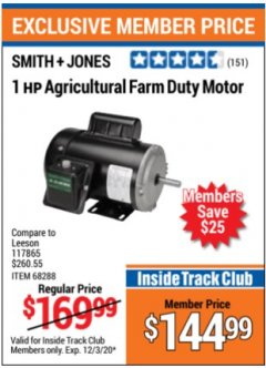 Harbor Freight ITC Coupon 1 HP AGRICULTURAL  FARM DUTY MOTOR Lot No. 117865 Expired: 12/3/20 - $144.99