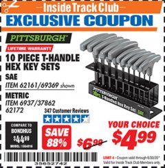 Harbor Freight ITC Coupon 10 PIECE T-HANDLED HEX KEY SETS Lot No. 37861/62161/69369/37862/69370/62172 Dates Valid: 12/31/69 - 6/30/20 - $4.99