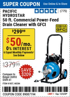 Harbor Freight Coupon PACIFIC HYDROSTAR 50FT. COMMERCIAL POWER-FEED DRAIN CLEANER WITH GFCI Lot No. 61857 Valid Thru: 12/3/20 - $299.99