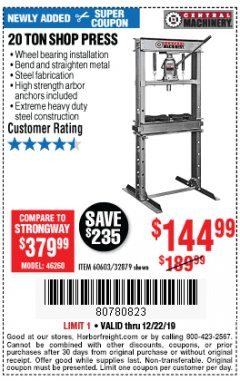 Harbor Freight Coupon 20 TON SHOP PRESS Lot No. 32879/60603 Expired: 12/22/19 - $144.99