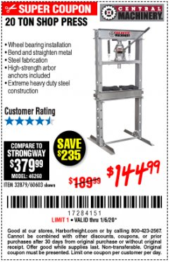 Harbor Freight Coupon 20 TON SHOP PRESS Lot No. 32879/60603 Expired: 1/6/20 - $144.99