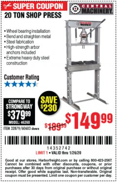 Harbor Freight Coupon 20 TON SHOP PRESS Lot No. 32879/60603 Expired: 1/26/20 - $149.99