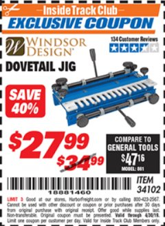 Harbor Freight ITC Coupon DOVETAIL JIG / MACHINE Lot No. 34102 Expired: 4/30/19 - $27.99