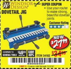 Harbor Freight Coupon DOVETAIL JIG / MACHINE Lot No. 34102 Expired: 11/3/18 - $27.99