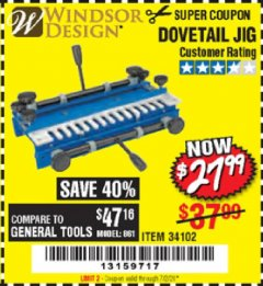 Harbor Freight Coupon DOVETAIL JIG / MACHINE Lot No. 34102 EXPIRES: 7/2/20 - $27.99