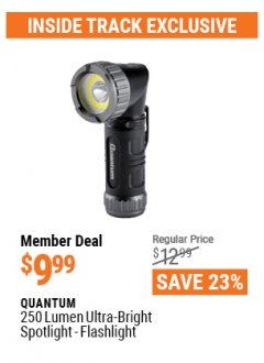 Harbor Freight ITC Coupon QUANTUM 250 LUMEN ULTRA-BRIGHT MINI SPOTLIGHT-FLASHLIGHT Lot No. 56882 Valid: 3/26/21 - 4/29/21 - $9.99