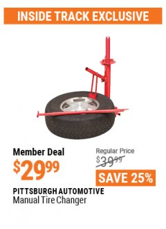 Harbor Freight ITC Coupon PITTSBURGH AUTOMOTIVE MANUAL TIRE CHANGER Lot No. 62317/69686 Valid Thru: 4/29/21 - $29.99