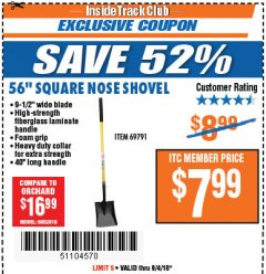 "Harbor Freight ITC Coupon 56"" SQUARE NOSE SHOVEL Lot No. 69791/3986 Expired: 9/4/18 - $7.99"