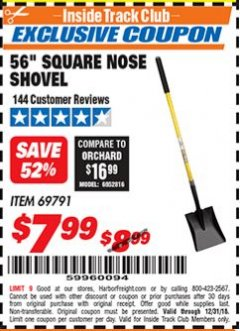 "Harbor Freight ITC Coupon 56"" SQUARE NOSE SHOVEL Lot No. 69791/3986 Expired: 12/31/18 - $7.99"