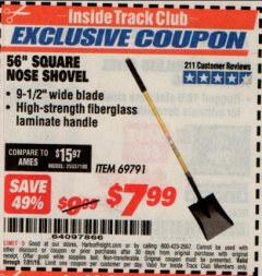 "Harbor Freight ITC Coupon 56"" SQUARE NOSE SHOVEL Lot No. 69791/3986 Expired: 7/31/19 - $7.99"