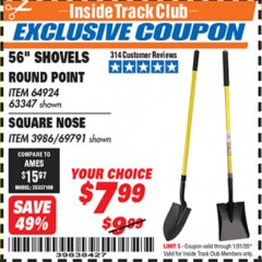 "Harbor Freight ITC Coupon 56"" SQUARE NOSE SHOVEL Lot No. 69791/3986 Expired: 1/31/20 - $7.99"