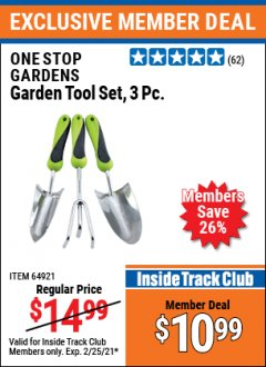 Harbor Freight ITC Coupon ONE STOP GARDENS 3PC GARDEN TOOL SET Lot No. 64921 Expired: 2/25/21 - $10.99