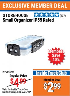Harbor Freight ITC Coupon STOREHOUSE SMALL ORGANIZER IP55 RATED Lot No. 56610 Expired: 2/25/21 - $2.99