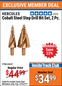 Harbor Freight ITC Coupon HERCULES COBALT STEP DRILL BIT, 2PCS Lot No. 64647 Expired: 2/25/21 - $34.99