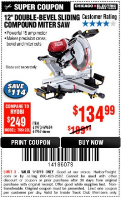 "Harbor Freight ITC Coupon 12"" SLIDING COMPOUND DOUBLE-BEVEL MITER SAW WITH LASER GUIDE Lot No. 69684/61776/61969/61970 Expired: 1/10/19 - $134.99"
