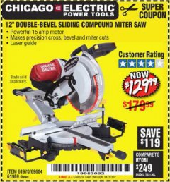 "Harbor Freight Coupon 12"" SLIDING COMPOUND DOUBLE-BEVEL MITER SAW WITH LASER GUIDE Lot No. 69684/61776/61969/61970 Expired: 11/3/18 - $129.99"