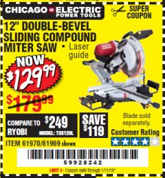 "Harbor Freight Coupon 12"" SLIDING COMPOUND DOUBLE-BEVEL MITER SAW WITH LASER GUIDE Lot No. 69684/61776/61969/61970 Expired: 1/11/19 - $129.99"