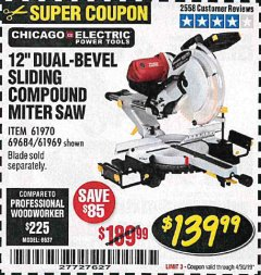 "Harbor Freight Coupon 12"" SLIDING COMPOUND DOUBLE-BEVEL MITER SAW WITH LASER GUIDE Lot No. 69684/61776/61969/61970 Expired: 4/30/19 - $139.99"