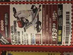 "Harbor Freight Coupon 12"" SLIDING COMPOUND DOUBLE-BEVEL MITER SAW WITH LASER GUIDE Lot No. 69684/61776/61969/61970 Expired: 5/31/19 - $139.99"