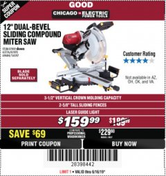 "Harbor Freight Coupon 12"" SLIDING COMPOUND DOUBLE-BEVEL MITER SAW WITH LASER GUIDE Lot No. 69684/61776/61969/61970 Expired: 6/16/19 - $159.99"