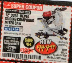 "Harbor Freight Coupon 12"" SLIDING COMPOUND DOUBLE-BEVEL MITER SAW WITH LASER GUIDE Lot No. 69684/61776/61969/61970 Expired: 7/31/19 - $144.99"