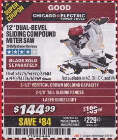 "Harbor Freight Coupon 12"" SLIDING COMPOUND DOUBLE-BEVEL MITER SAW WITH LASER GUIDE Lot No. 69684/61776/61969/61970 Expired: 8/31/19 - $144.99"