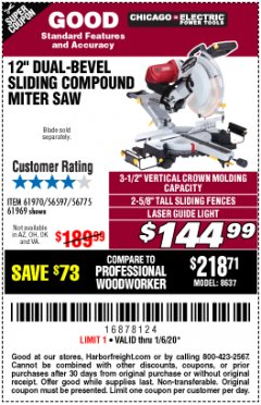 "Harbor Freight Coupon 12"" SLIDING COMPOUND DOUBLE-BEVEL MITER SAW WITH LASER GUIDE Lot No. 69684/61776/61969/61970 Expired: 1/6/20 - $144.99"