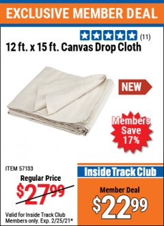 Harbor Freight ITC Coupon 12FT. X 15FT. CANVAS DROP CLOTH Lot No. 57133 Expired: 2/25/21 - $22.99