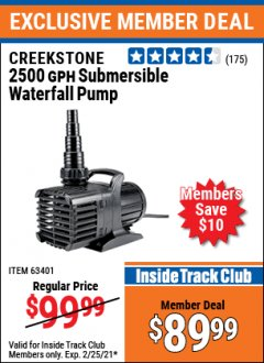 Harbor Freight ITC Coupon CREEKSTONE 2500 GPH SUBMERSIBLE WATERFALL PUMP Lot No. 63401 Expired: 2/25/21 - $89.99