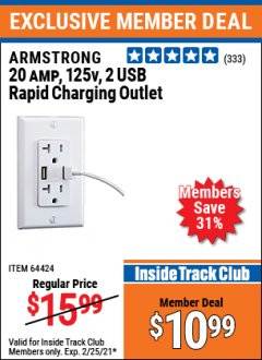Harbor Freight ITC Coupon ARMSTRONG 20A, 125V, 2 USB RAPID CHARGING OUTLET Lot No. 64424 Expired: 2/25/21 - $10.99