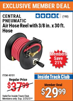 Harbor Freight ITC Coupon CENTRAL PNEUMATIC AIR HOSE REEL WITH 3/8 IN. X 30 FT. HOSE Lot No. 40131 Expired: 2/25/21 - $29.99