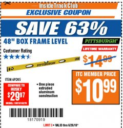 "Harbor Freight ITC Coupon 48"" BOX FRAME LEVEL Lot No. 69245 Expired: 6/26/18 - $10.99"